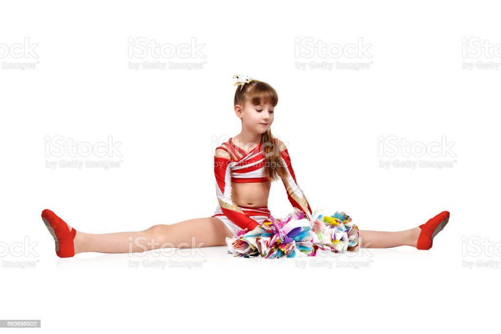 cheerleader girl with pompoms stock photo