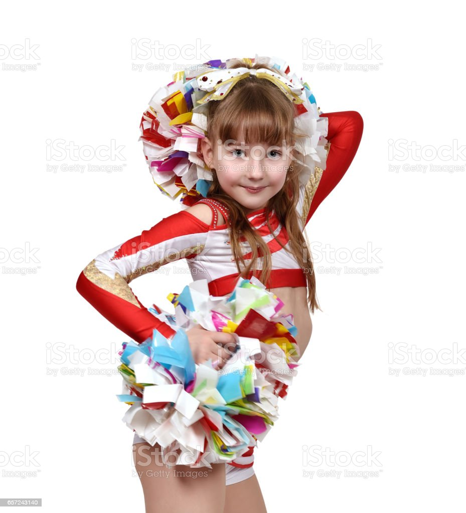 cheerleader girl with white and red dress stock photo