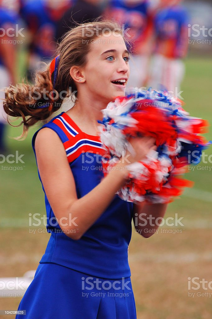 Cheerleader in motion royalty-free stock photo