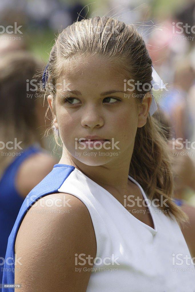 Cheerleader Portrait at Football Game stock photo