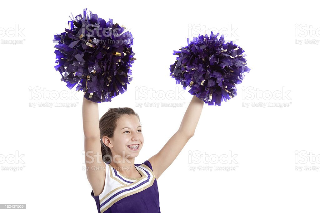 Cheerleader with PomPoms royalty-free stock photo