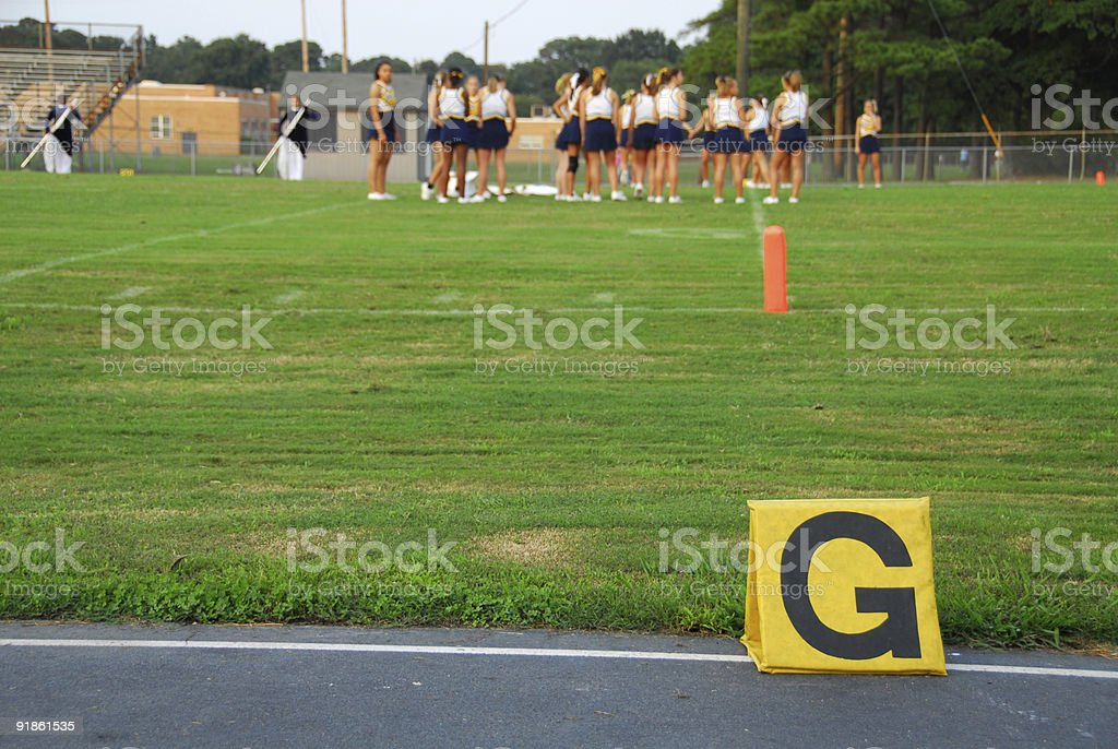 Cheerleaders in the End Zone royalty-free stock photo