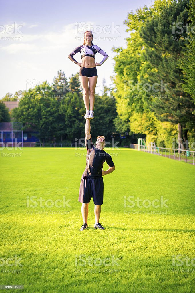 cheerleaders practicing royalty-free stock photo
