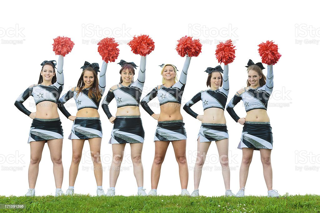 cheerleaders rooting for their team royalty-free stock photo