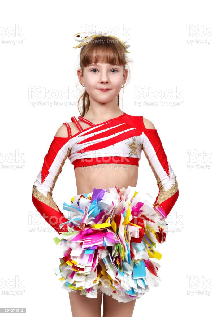 cheerleading girl standing with pom stock photo