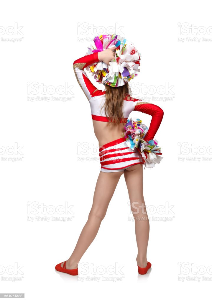 cheerleading girl with pompoms stock photo