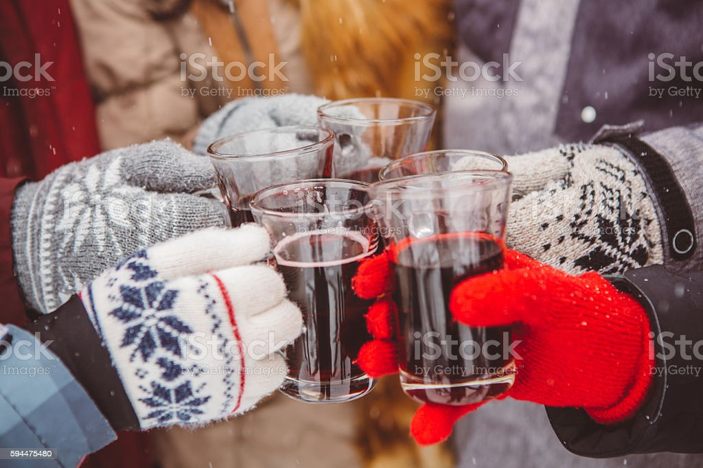Cheers and happy holidays stock photo