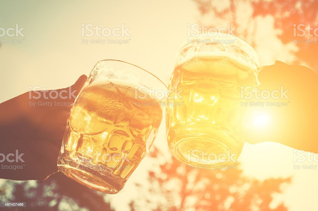 Cheers for my friends! stock photo