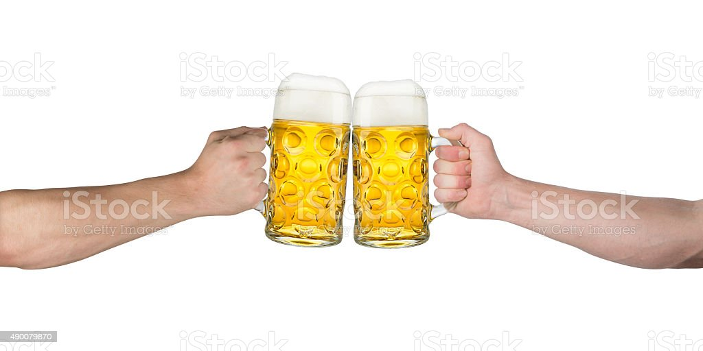 cheers hands oktoberfest stock photo