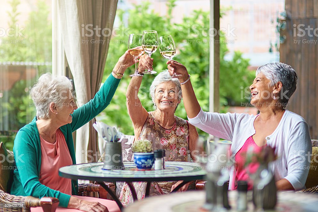 Cheers to a fun retirement with you girls stock photo