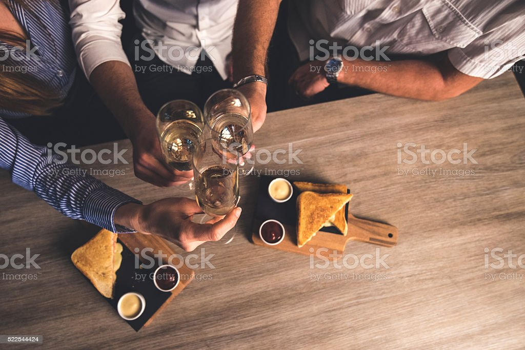 Cheers to future cooperation! stock photo