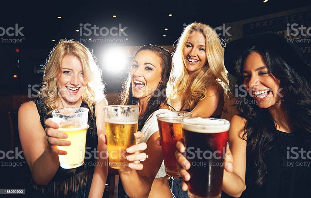 Cheers to good friends and good times stock photo