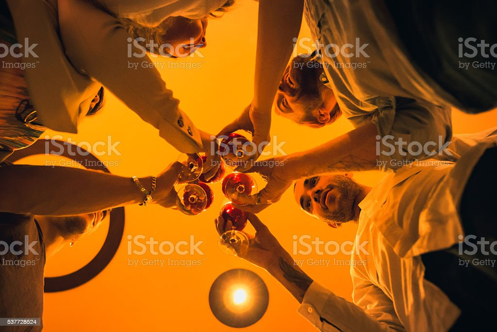 Cheers to Our Success! Group of friends having party. stock photo