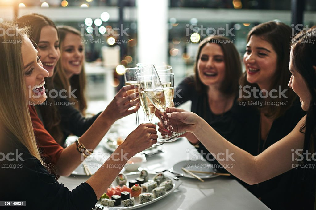 Cheers to us! stock photo