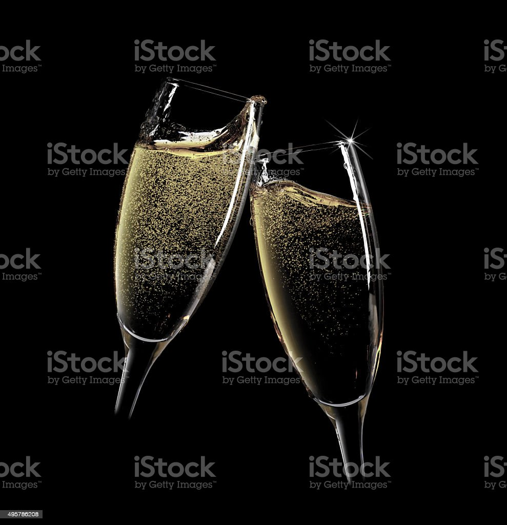 two champagne glasses stock photo