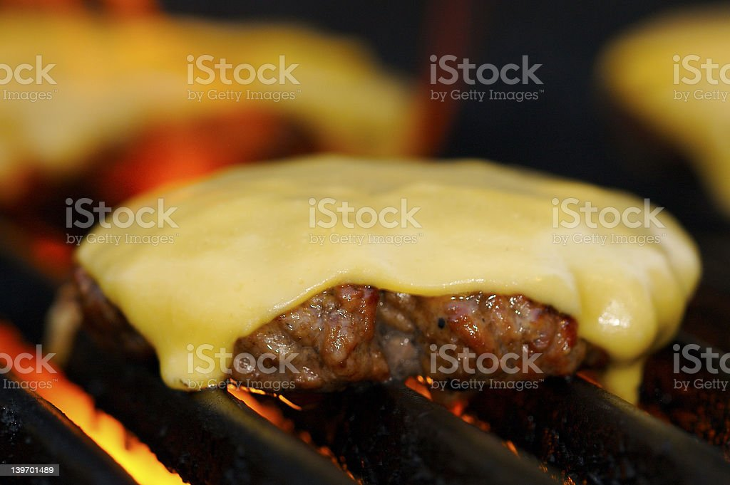 Cheesburger Grilling stock photo