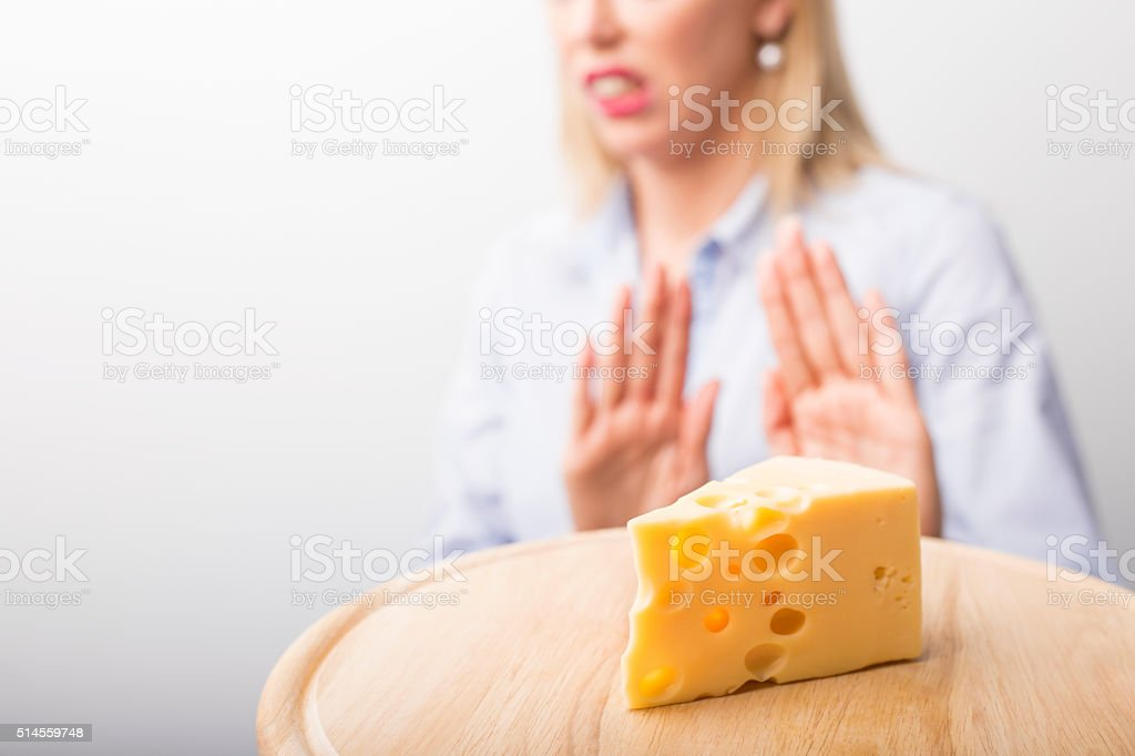 Cheese allergies stock photo