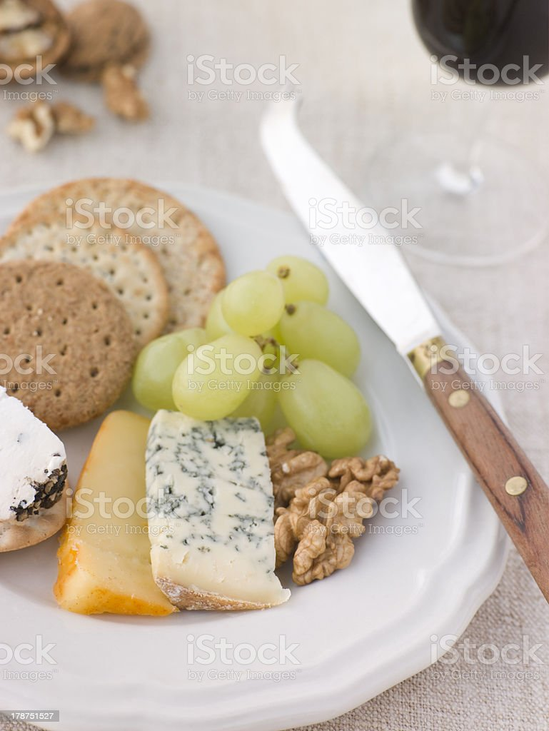 Cheese and Biscuits with a Glass of Port royalty-free stock photo