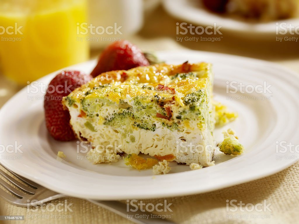 Cheese and Broccoli Frittata stock photo