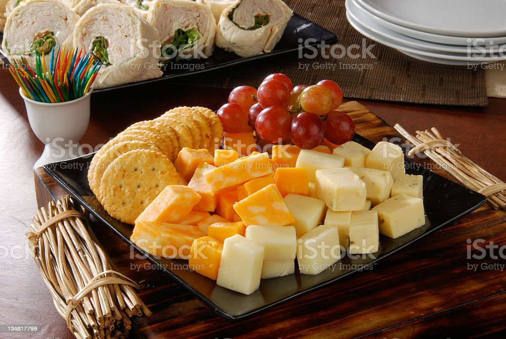 cheese and crackers party tray stock photo