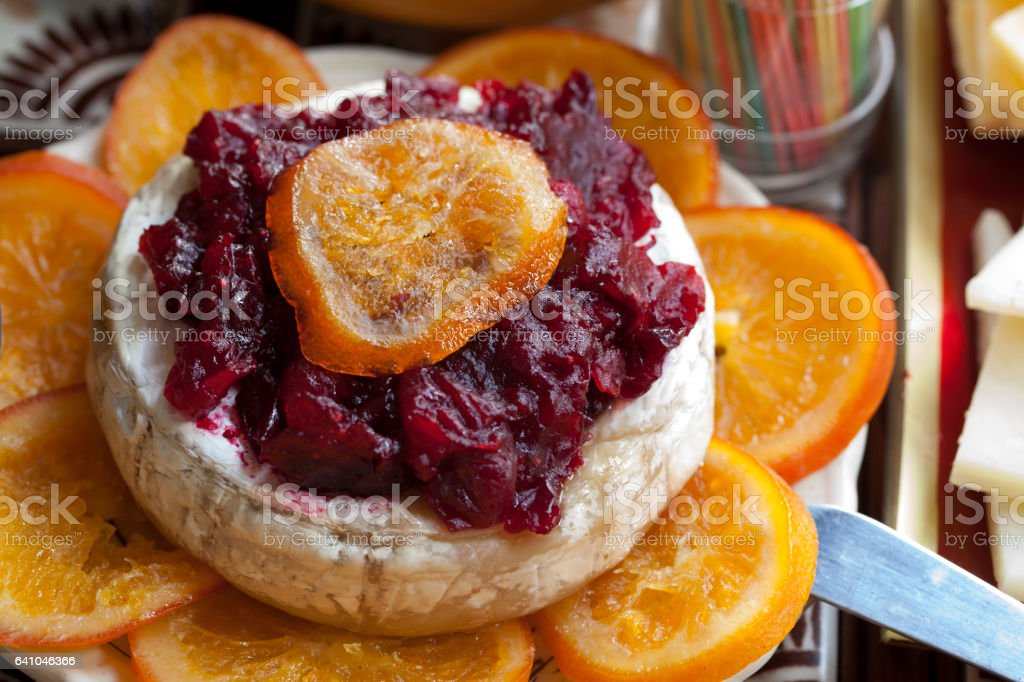 Cheese and cranberry sauce stock photo