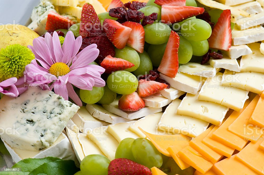 Cheese and Fruit Tray stock photo