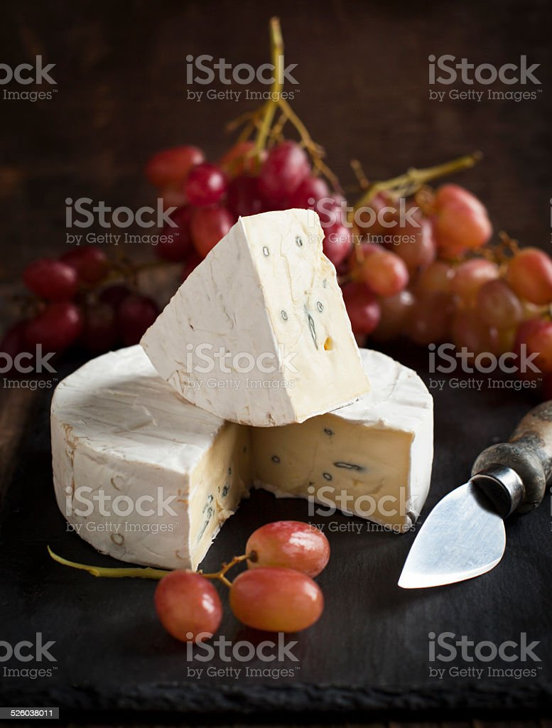 Cheese and grape. stock photo