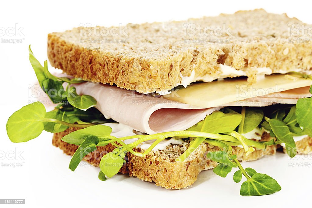 Cheese and Ham Salad Sandwich royalty-free stock photo