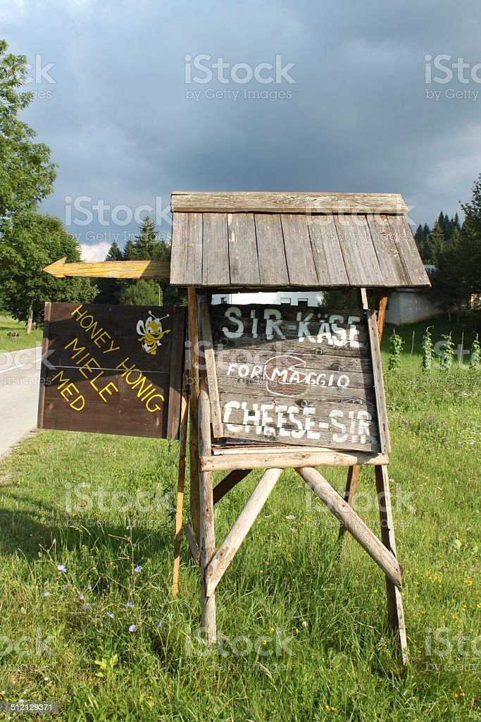 Cheese and honey sale sign royalty-free stock photo