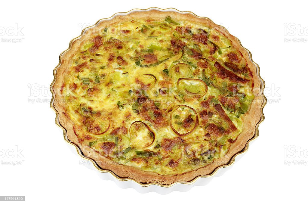 Cheese And Leek Flan In Dish stock photo