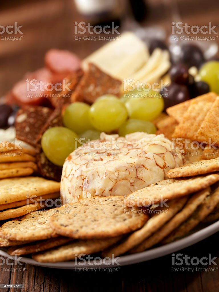 Cheese and Meat Tray stock photo