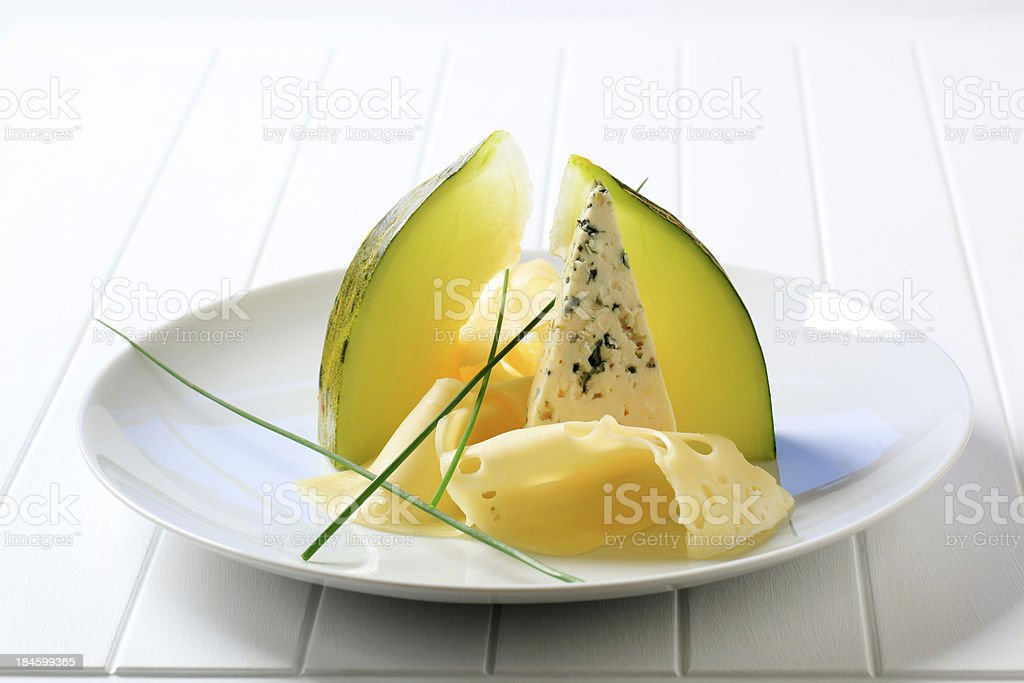 Cheese and melon royalty-free stock photo