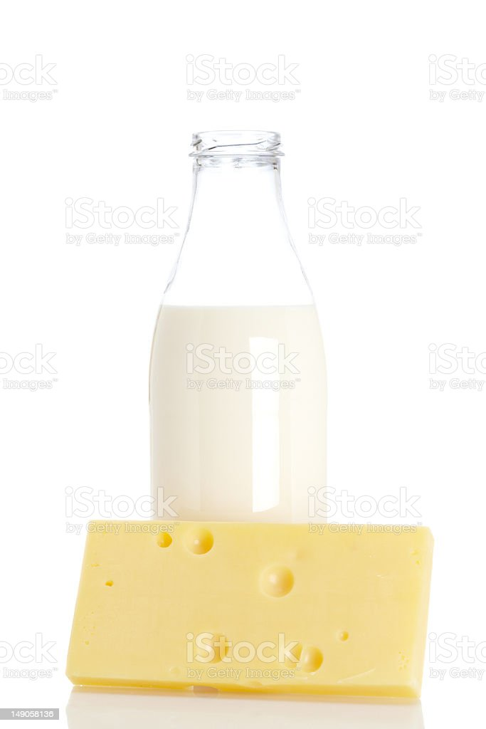 Cheese and milk bottle royalty-free stock photo