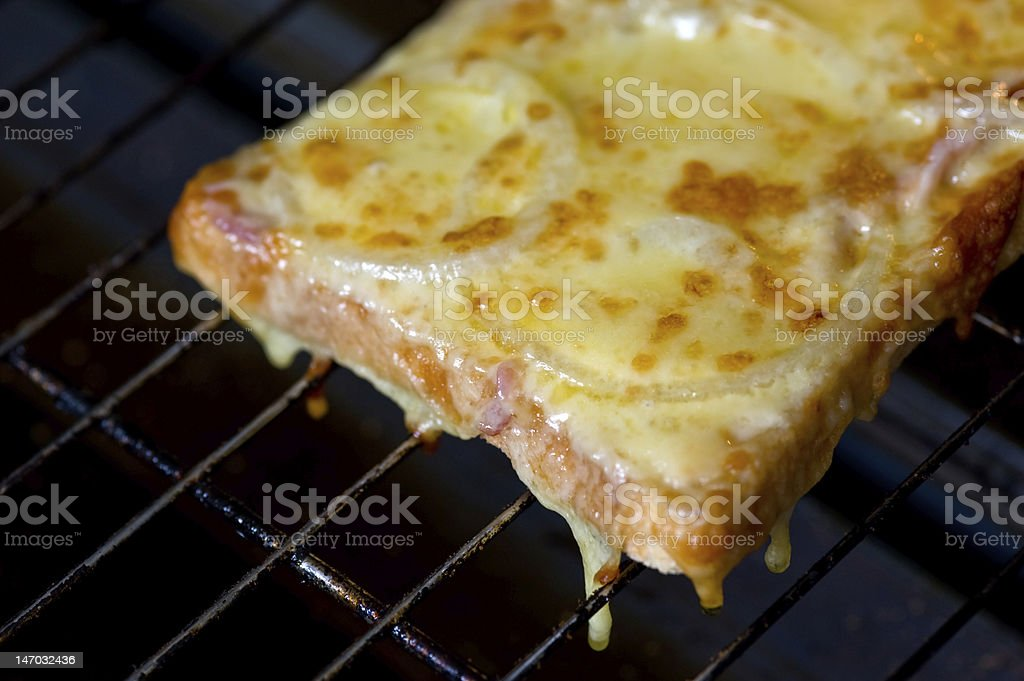 Cheese and onion melt in oven (toasted sandwich) royalty-free stock photo