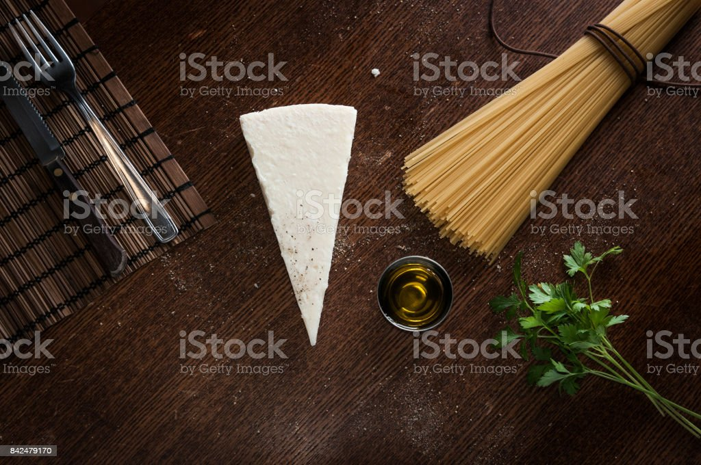 Cheese and pepper spaghetti ingredients stock photo