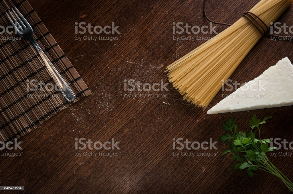 Cheese and pepper spaghetti recipe stock photo