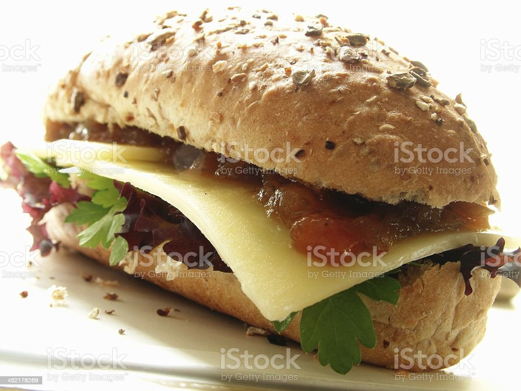 cheese and pickle sandwich snack stock photo
