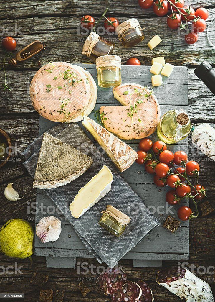 Cheese and Salami stock photo