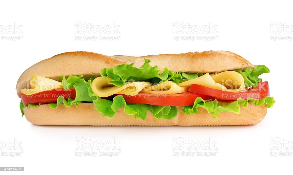 cheese and tomato baguette sandwich stock photo