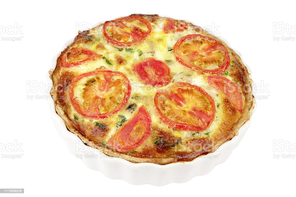 Cheese And Tomato Flan In Dish stock photo