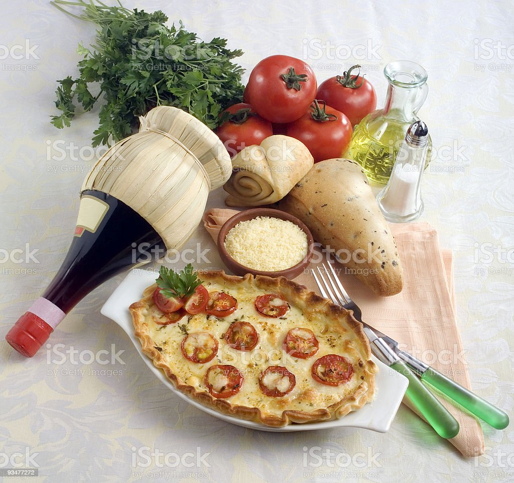 Cheese and tomato italian quiche royalty-free stock photo