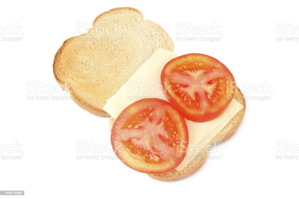 Cheese and Tomato on Toast stock photo