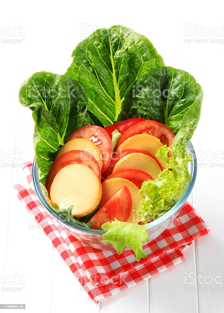 Cheese and tomato salad royalty-free stock photo