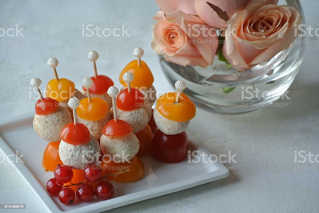 Cheese and Tomato Skewers stock photo