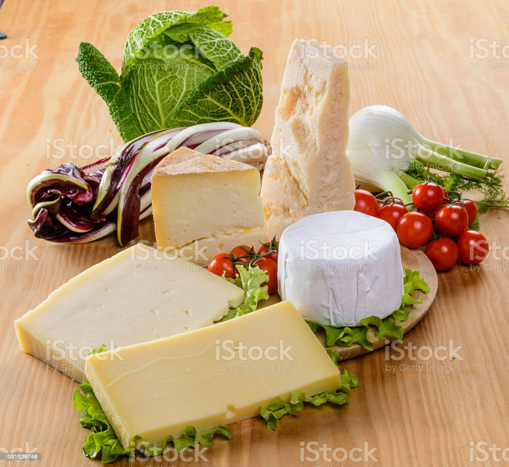 Cheese and vegetables stock photo
