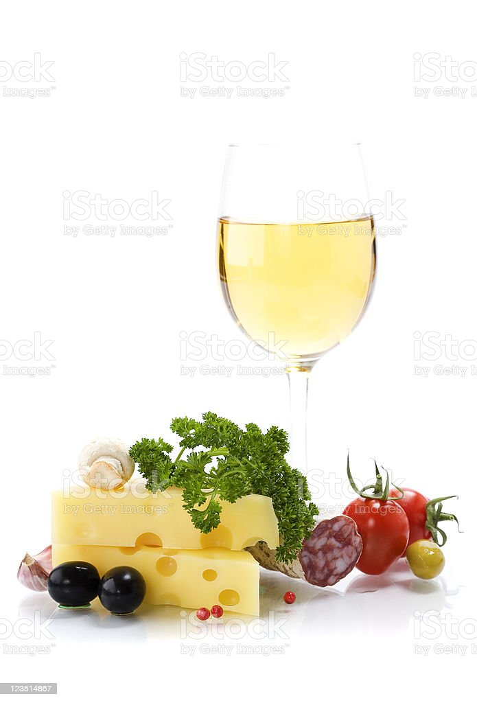 Cheese and white wine royalty-free stock photo