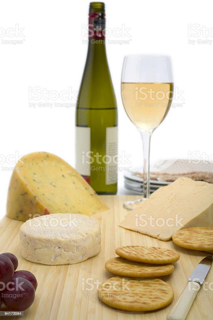 Cheese and White Wine stock photo