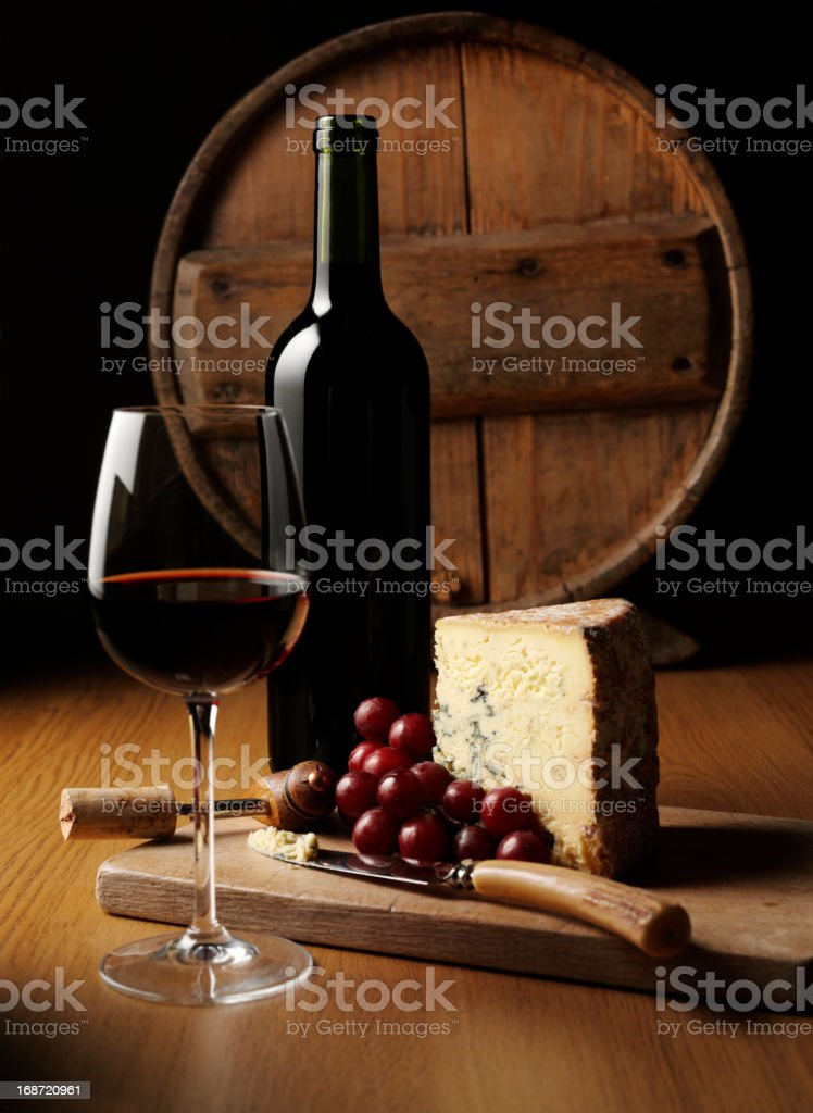 Cheese and Wine Elegance royalty-free stock photo