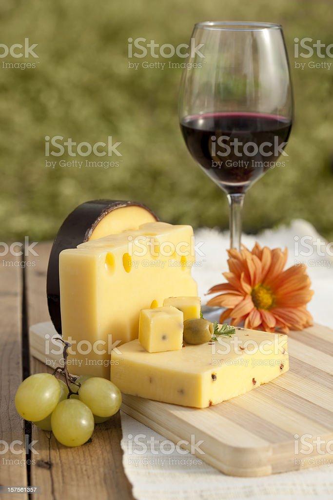 Cheese and wine stock photo