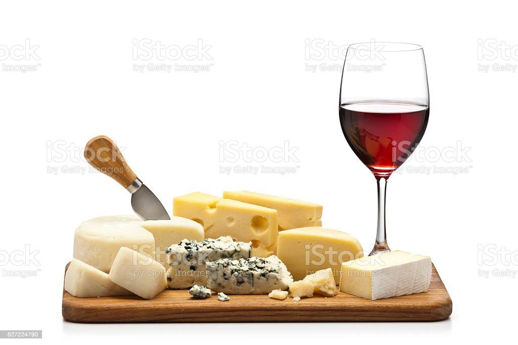 Cheese and wine platter stock photo